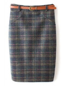 Plaid Pattern High Waist Skirt
