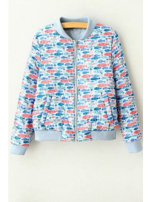 Full Fish Print Stand Neck Long Sleeve Jacket