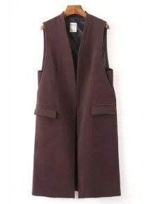 Solid Color Pockets Long Waistcoat