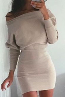 Skew Neck Long Sleeve Packet Buttocks Sheath Dress