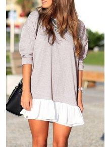 3/4 Sleeve Ruffle Hem Loose Dress - Light Coffee