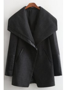 Large Lapel PU Spliced Thick Coat