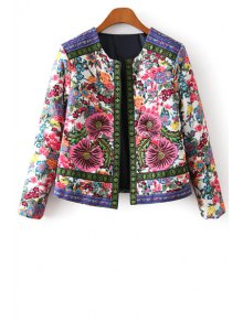 Flower Print Embroidery Jacquard Long Sleeves Jacket - L