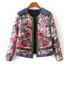 Flower Print Embroidery Jacquard Long Sleeves Jacket
