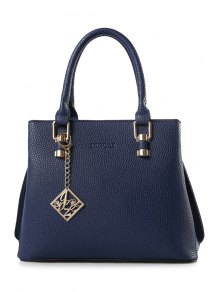 Solid Color Embossing Pendant Tote Bag - Blue