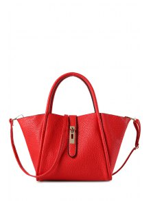 Hasp Embossing Pure Color Tote Bag
