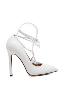 Solid Color Criss-Cross Pointed Toe Pumps - White 39