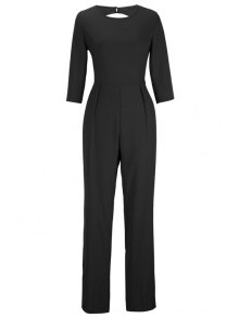 Backless Solid Color Round Collar Jumpsuit - Black Xl