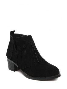 Buy Fringe V-Shape Chunky Heel Ankle Boots