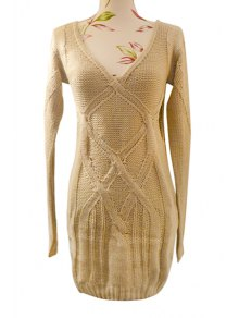 Cable Knit Hollow Out Sweater Dress - Apricot