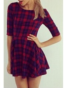 Half Sleeve Plaid Fit And Flare Dress - Red M