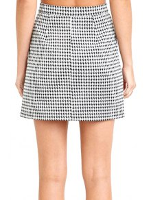 houndstooth pattern high waisted skirt white and black