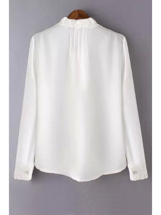 Solid Color Agaric Collar Long Sleeve Blouse - WHITE M Mobile