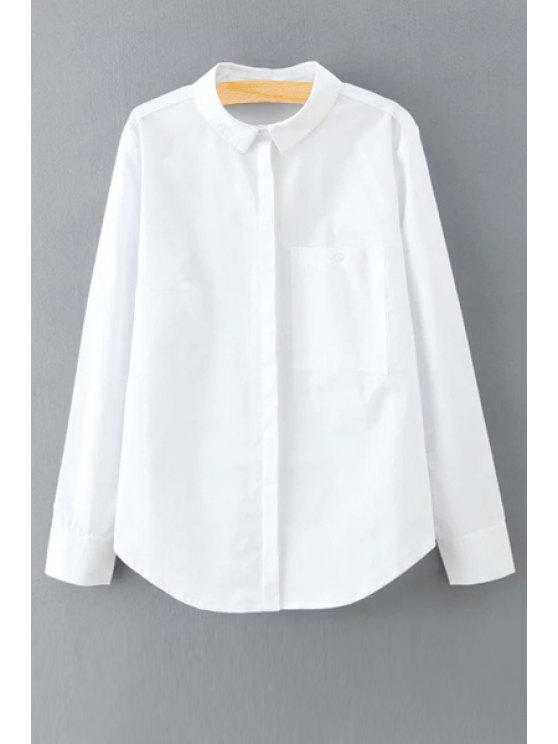 Solid Color Long Sleeve Shirt Collar Shirt - WHITE M Mobile