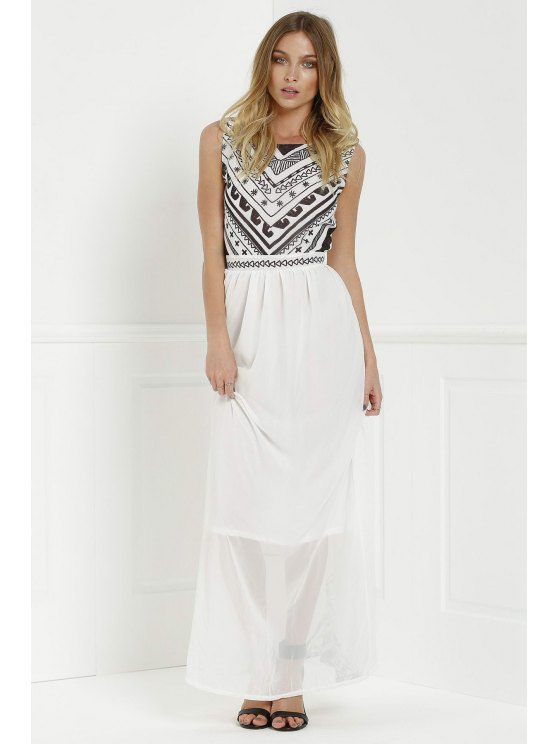 womens Backless Geometric Print Chiffon Maxi Dress - WHITE XL