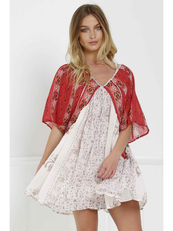 Short Sleeve Vintage Print Dress - RED WITH WHITE XS Mobile