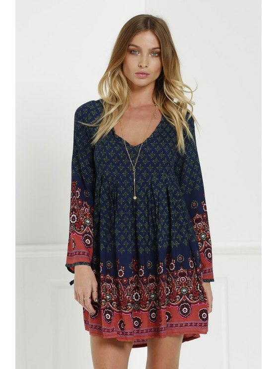 outfit 3/4 Sleeve Floral Tunic Dress - BLUE S