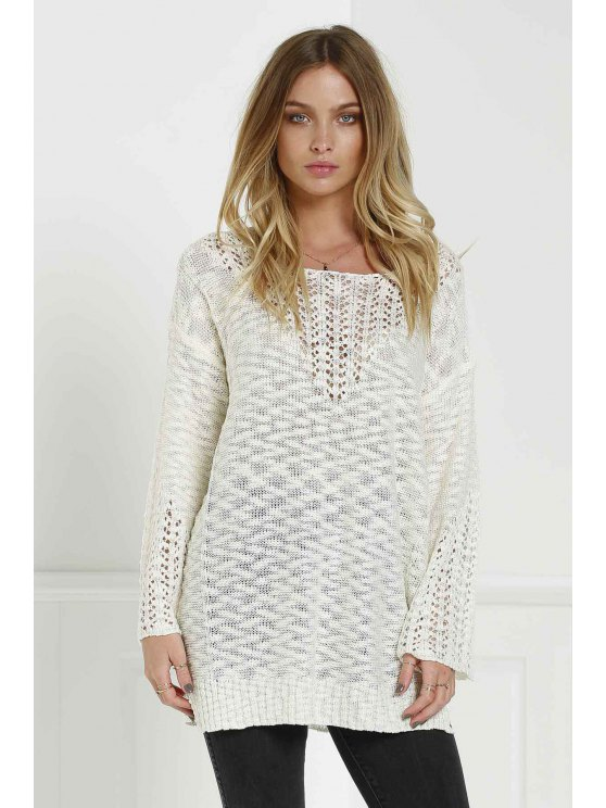 trendy White Hollow Long Sleeve Jumper - WHITE ONE SIZE(FIT SIZE XS TO M)