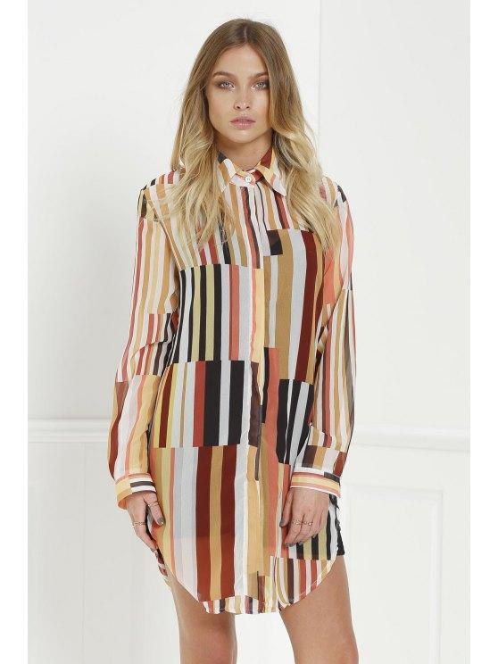 buy Statement Stripe Longline Blouse - COLORMIX S