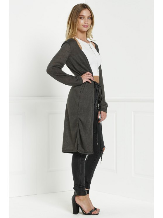 Solid Color New Look Midi Cardigan - OLIVE GREEN M Mobile