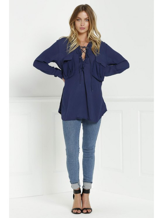 Loose V Neck Long Sleeve Blouse - CADETBLUE M Mobile