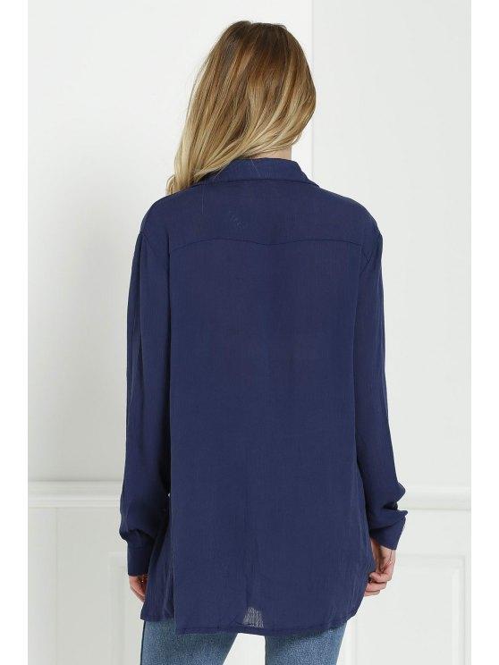 Loose V Neck Long Sleeve Blouse - CADETBLUE L Mobile
