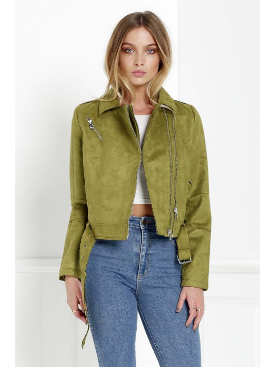 shop Zippered Green Suede Jacket - GREEN XL