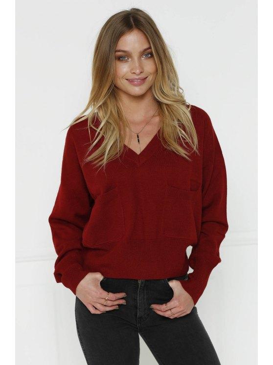 Resultado de imagen para V-Neck Two Pockets Crop Sweater - Claret L