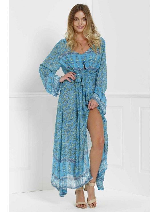hot Tiny Floral High Slit Maxi Dress - BLUE S