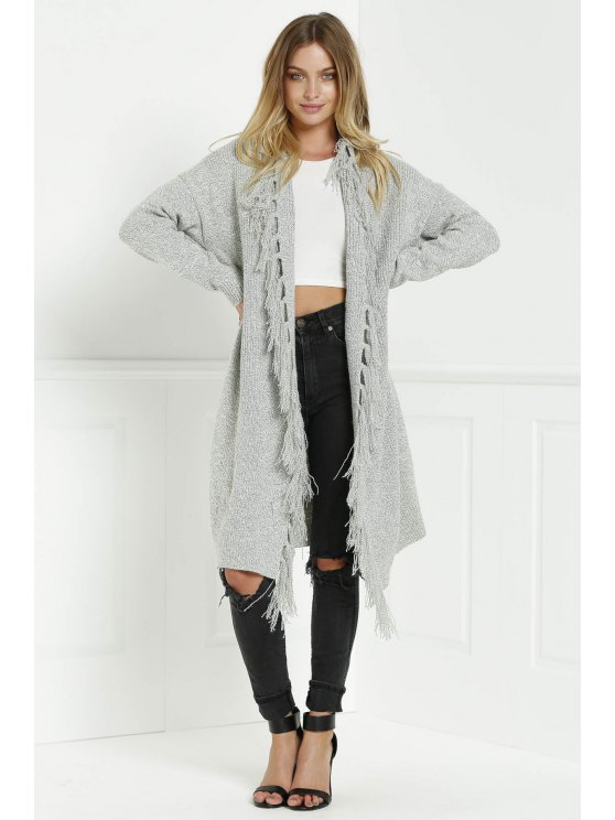 fancy Open Front Fringed Longline Cardigan - GRAY ONE SIZE(FIT SIZE XS TO M)