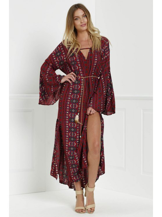 Bell Sleeve Tribal Pattern Print Dress - RED L Mobile
