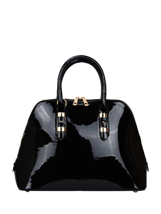 sale Patent Leather Solid Color Metal Tote Bag - BLACK