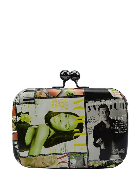 best Print Color Matching Kiss Lock Evening Bag - GREEN