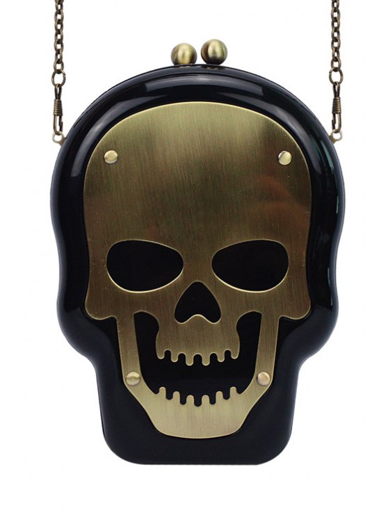 trendy Skull Shape Kiss Lock Chains Evening Bag - BLACK