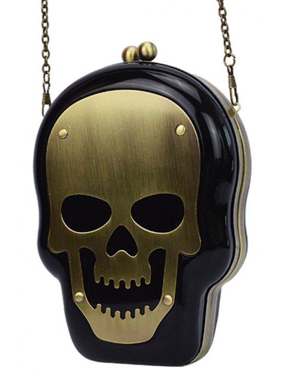 Skull Shape Kiss Lock Chains Evening Bag - BLACK  Mobile