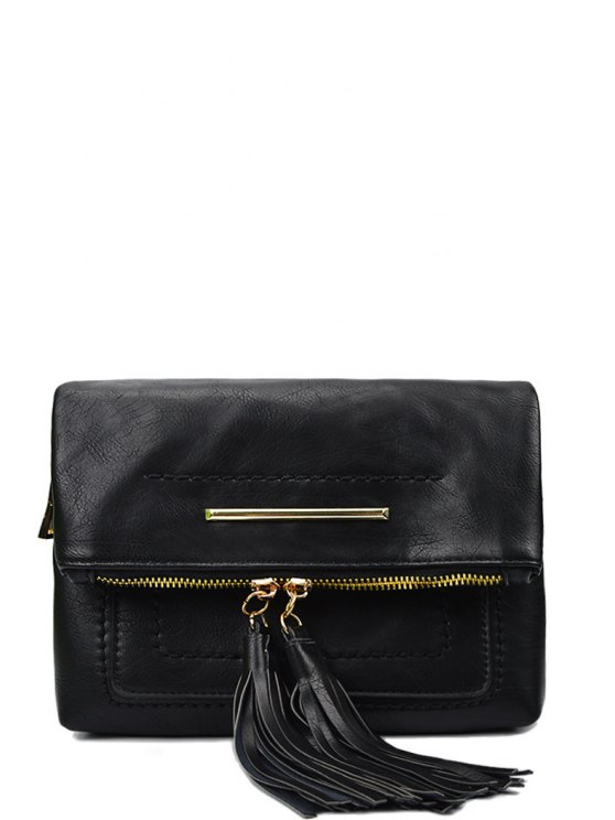 fancy Stitching Tassels Metal Crossbody Bag - BLACK