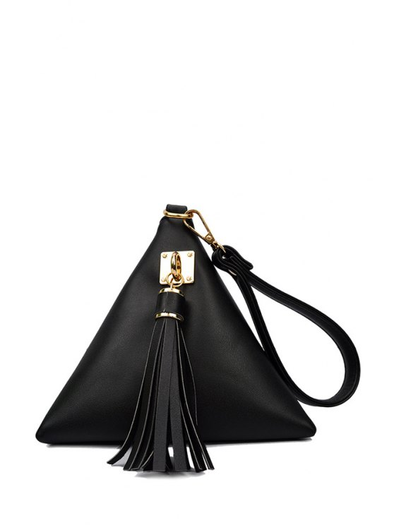 affordable Solid Color Triangle Shape Tassel Clutch Bag - BLACK