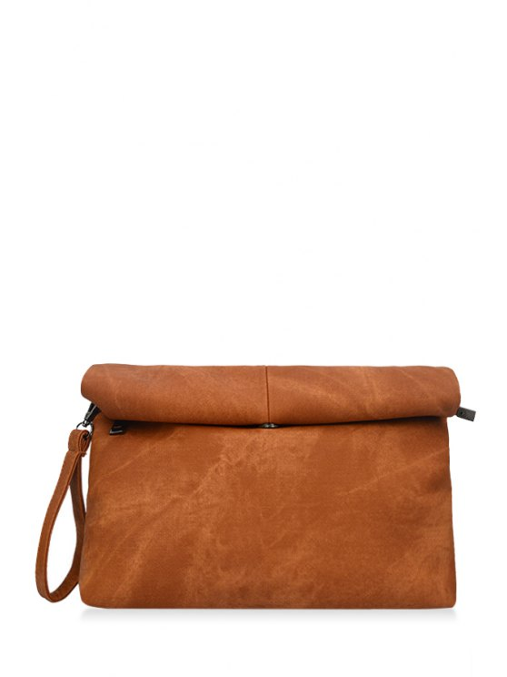 ladies Solid Color Hemming Denim Clutch Bag - BROWN