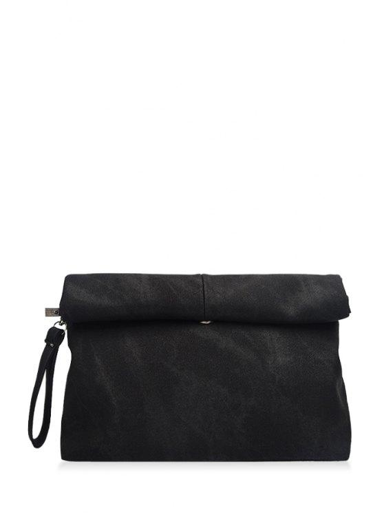 women's Solid Color Hemming Denim Clutch Bag - BLACK