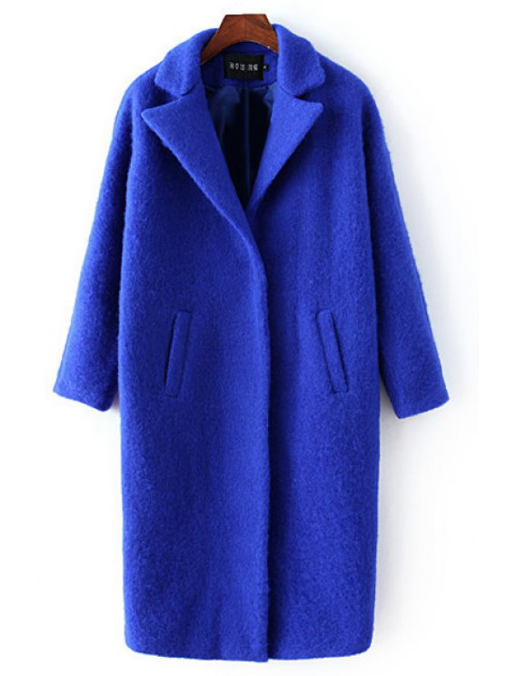 new Blue Lapel Long Sleeve Wool Coat - BLUE S