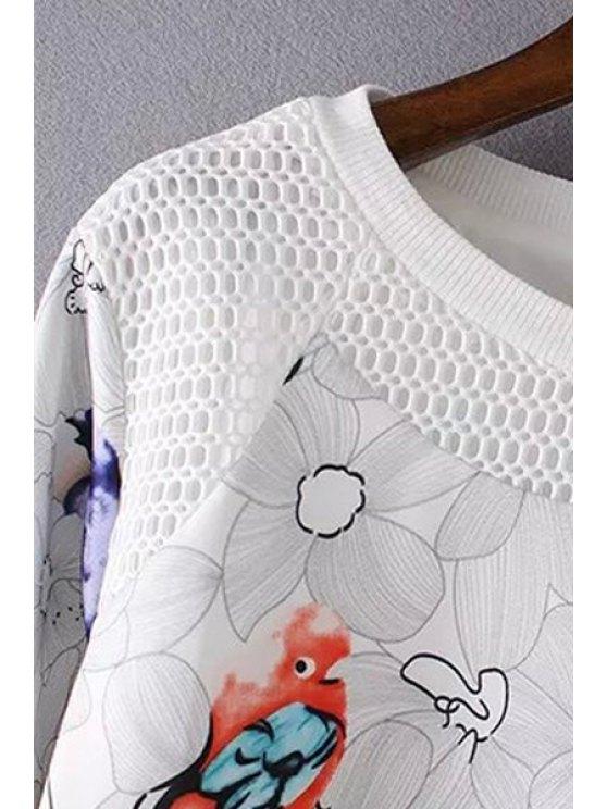 Bird Print Mesh Design Sweatshirt - WHITE M Mobile