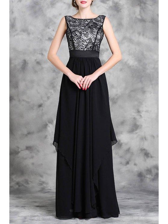 online Lace Spliced Sleeveless A Line Maxi Dress - BLACK M