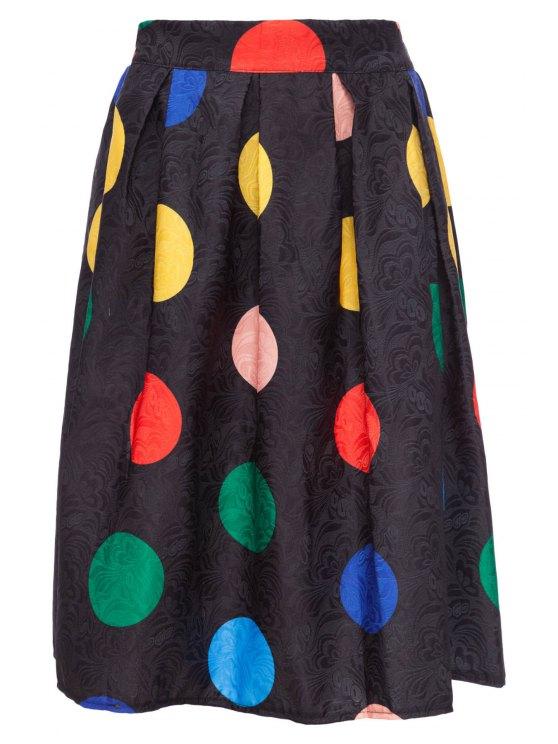 new Colorful Polka Dot Midi Skirt - BLACK M