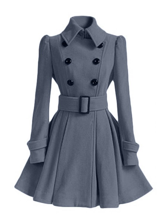 womens Solid Color Belted Turn-Down Collar Wool Dress Coat - GRAY XL