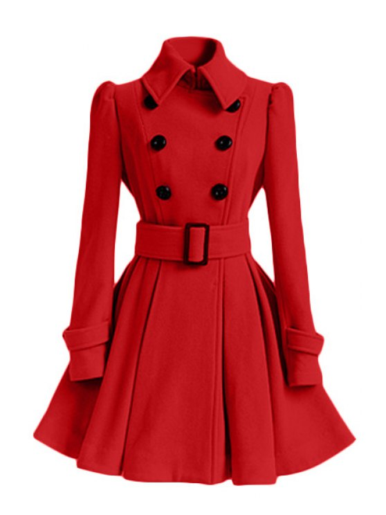 new Solid Color Belted Turn-Down Collar Wool Dress Coat - RED L