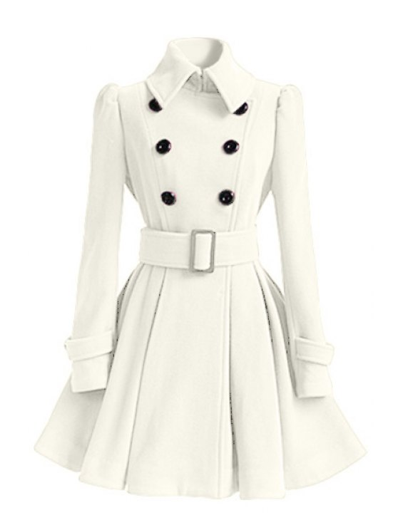 chic Solid Color Belted Turn-Down Collar Wool Dress Coat - WHITE XL