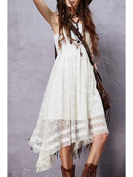 Sleeveless Embroidered Irregular Hem Dress - WHITE L Mobile