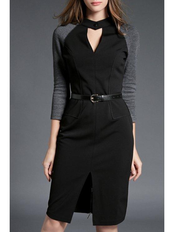 shops Front Slit Stand Neck Cut Out Color Block Dress - BLACK XL