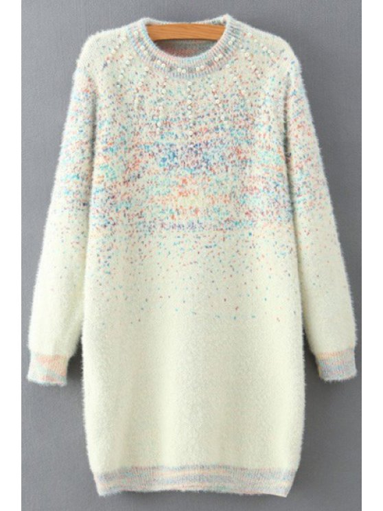 Beaded Round Collar Long Sleeve Sweater Dress - WHITE ONE SIZE(FIT SIZE XS TO M) Mobile