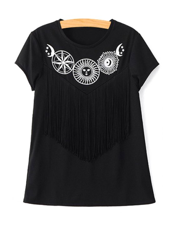 women Short Sleeve Fringed Black T-Shirt - BLACK L